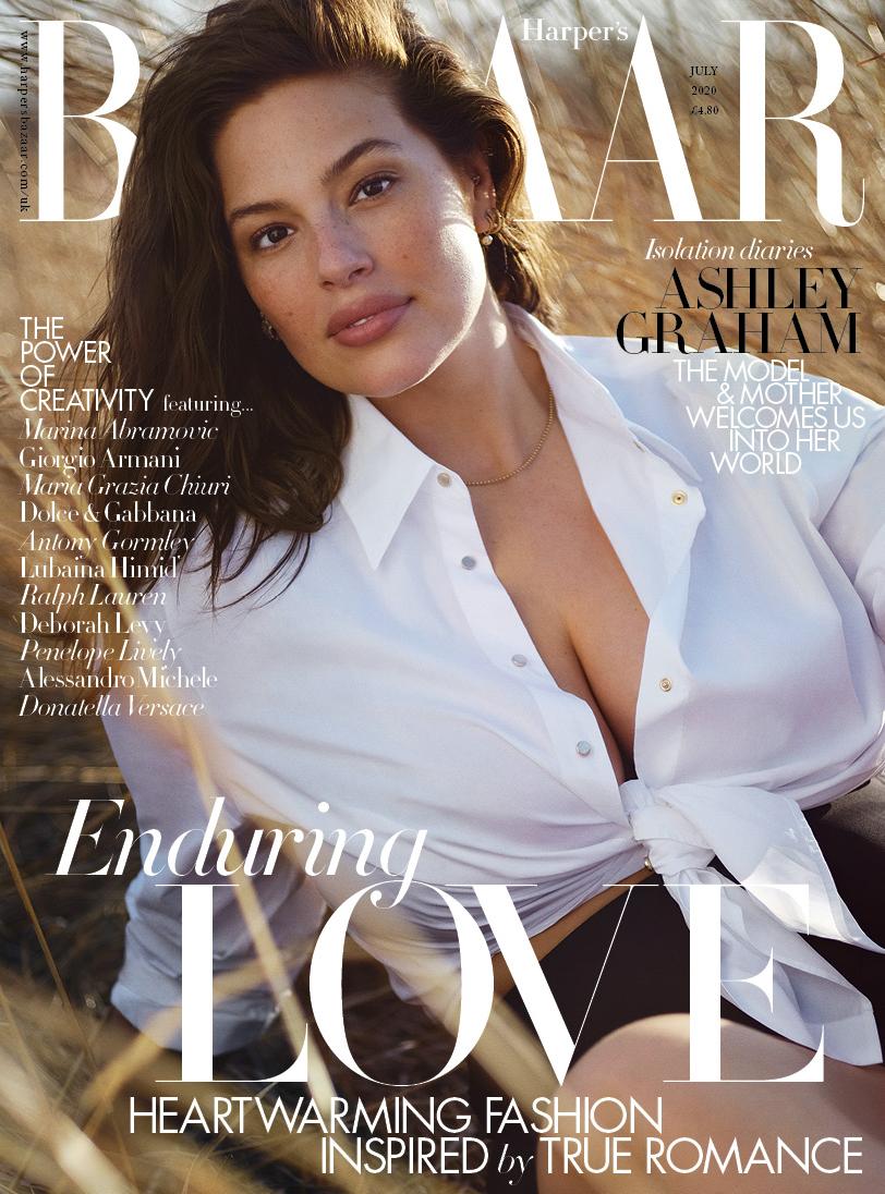 Ashley Graham on the cover of Harper's Bazaar UK July 2020 issue.