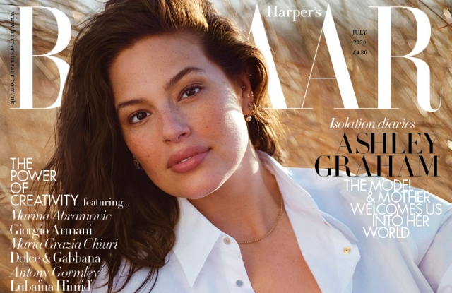Ashley Graham on the cover of Harper's Bazaar UK July 2020 issue.