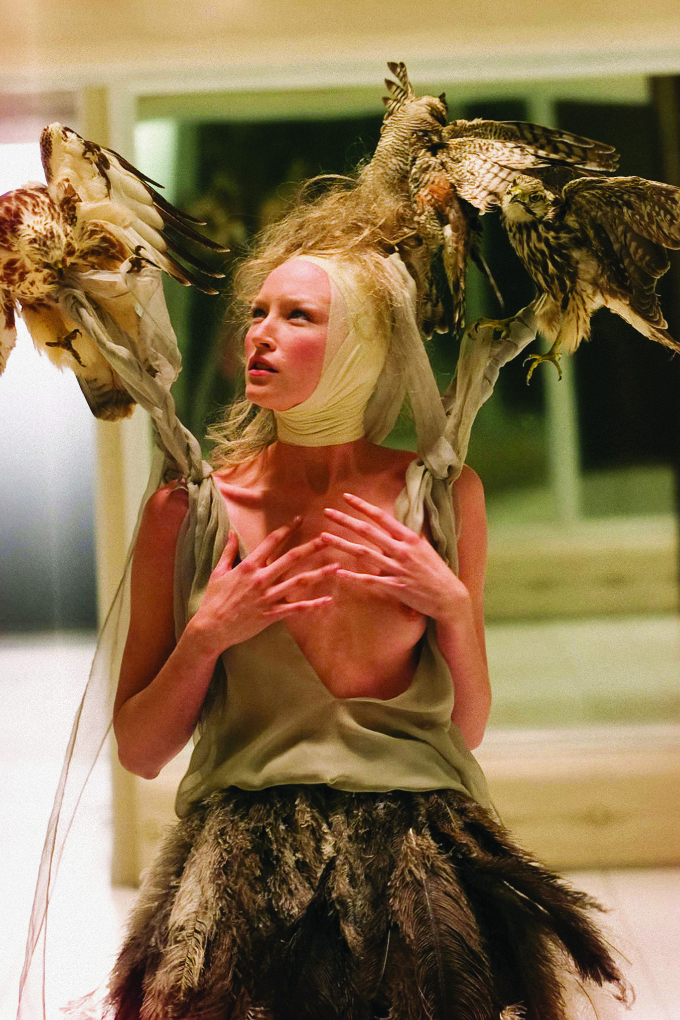Model at the Spring 2001 Alexander McQueen fashion show in London.