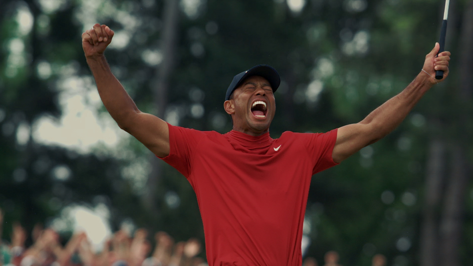 A victorious Tiger Woods.