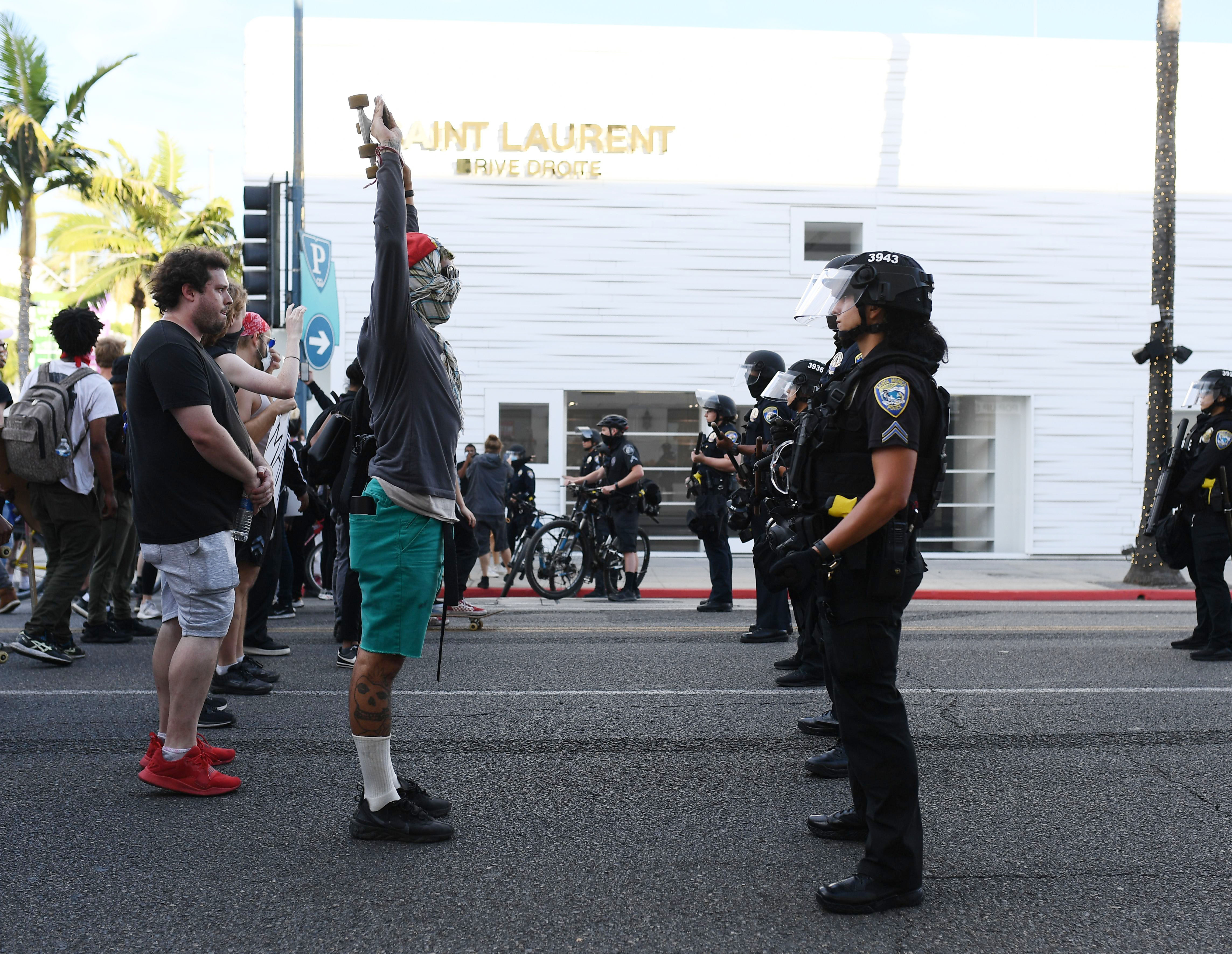 Protesters near Rodeo Drive in Beverly Hills, California.