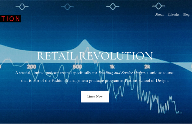 The homepage of Parsons' Retail Revolution podcast.