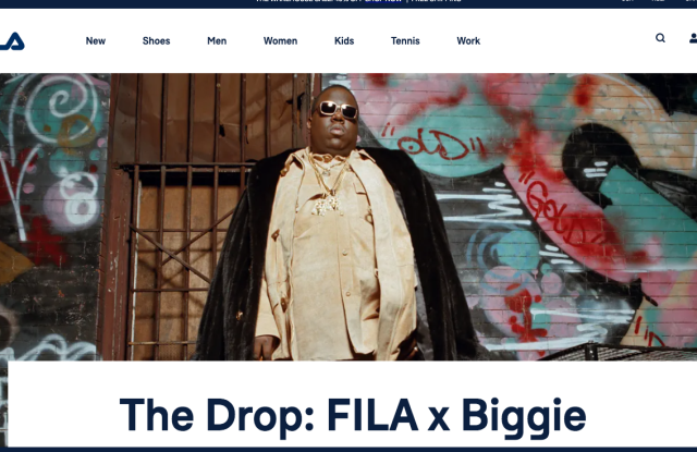 The Fila website is offering the Biggie collection.