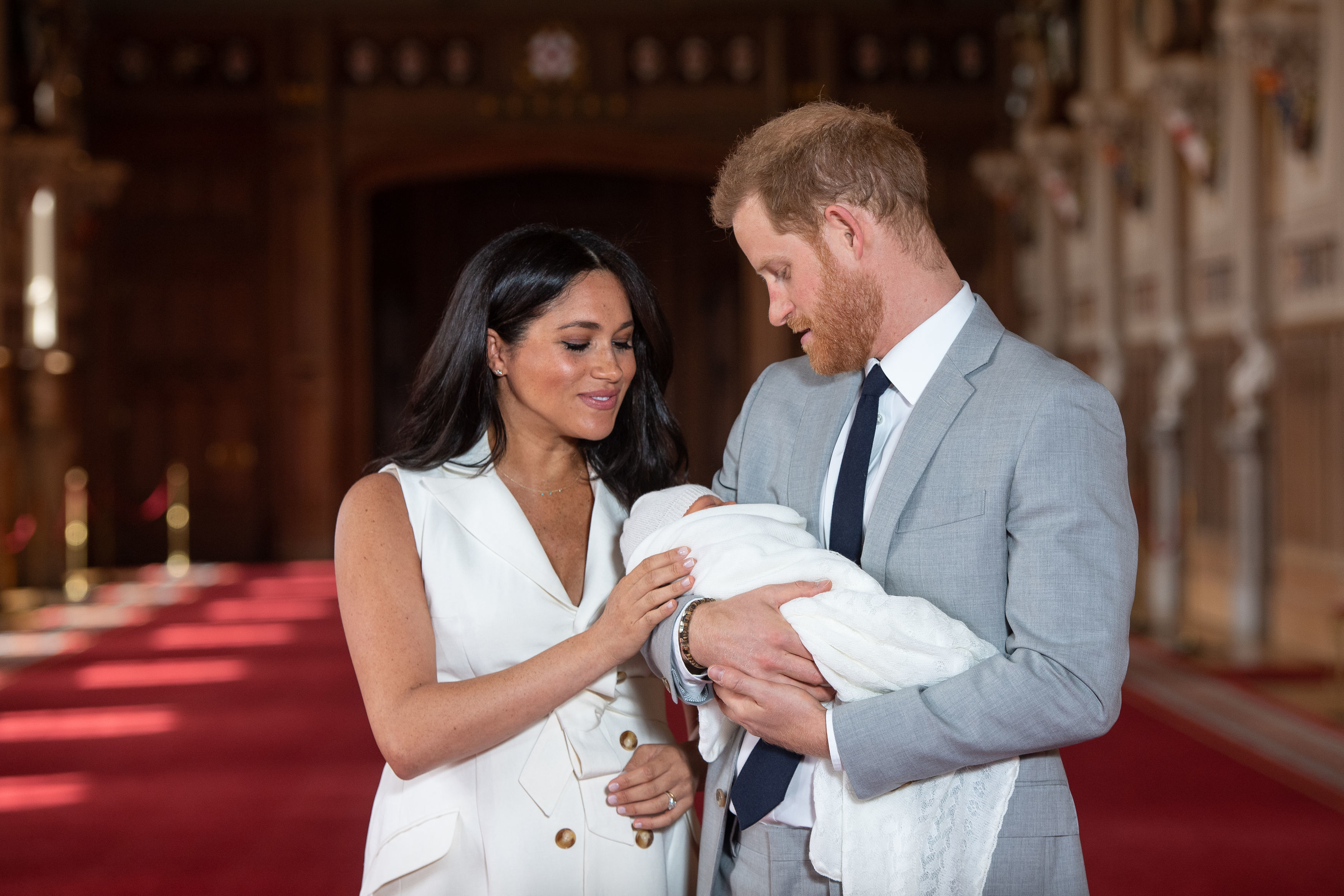 Editorial use only.Mandatory Credit: Photo by Domic Lipinski/PA/EPA-EFE/Shutterstock (10231477p)Prince Harry and Meghan Duchess of Sussex pose together with their newborn son Archie Harrison Mountbatten-Windsor in WindsorPrince Harry and Meghan Duchess of Sussex new baby photocall, Windsor Castle, UK - 08 May 2019