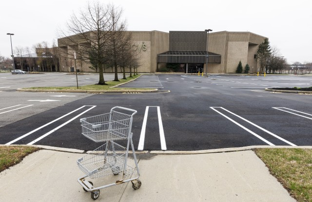An empty shopping cart in an empty parking lot at a Macy's department store in a mall which is closed to help prevent the spread of the coronavirus, in Paramus, New Jersey, USA, 30 March 2020. Macy's announced that they will furlough most of its 130 thousand employees starting this week as a result of massive sales losses during the coronavirus pandemic.Macy's To Furlough Most Emplyees Due to Coronavirus, Paramus, USA - 30 Mar 2020