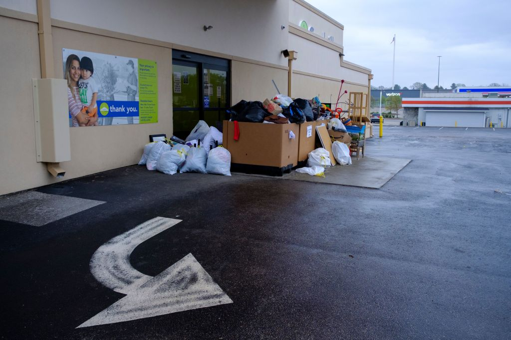 Items are left for donation outside a Goodwill, on a day it's closed, during the COVID-19/Coronavirus emergency. The location is closed to shoppers, but still taking donations during certain hours. Easter Sunday In Bloomington amid COVID-19 Outbreak - 12 Apr 2020