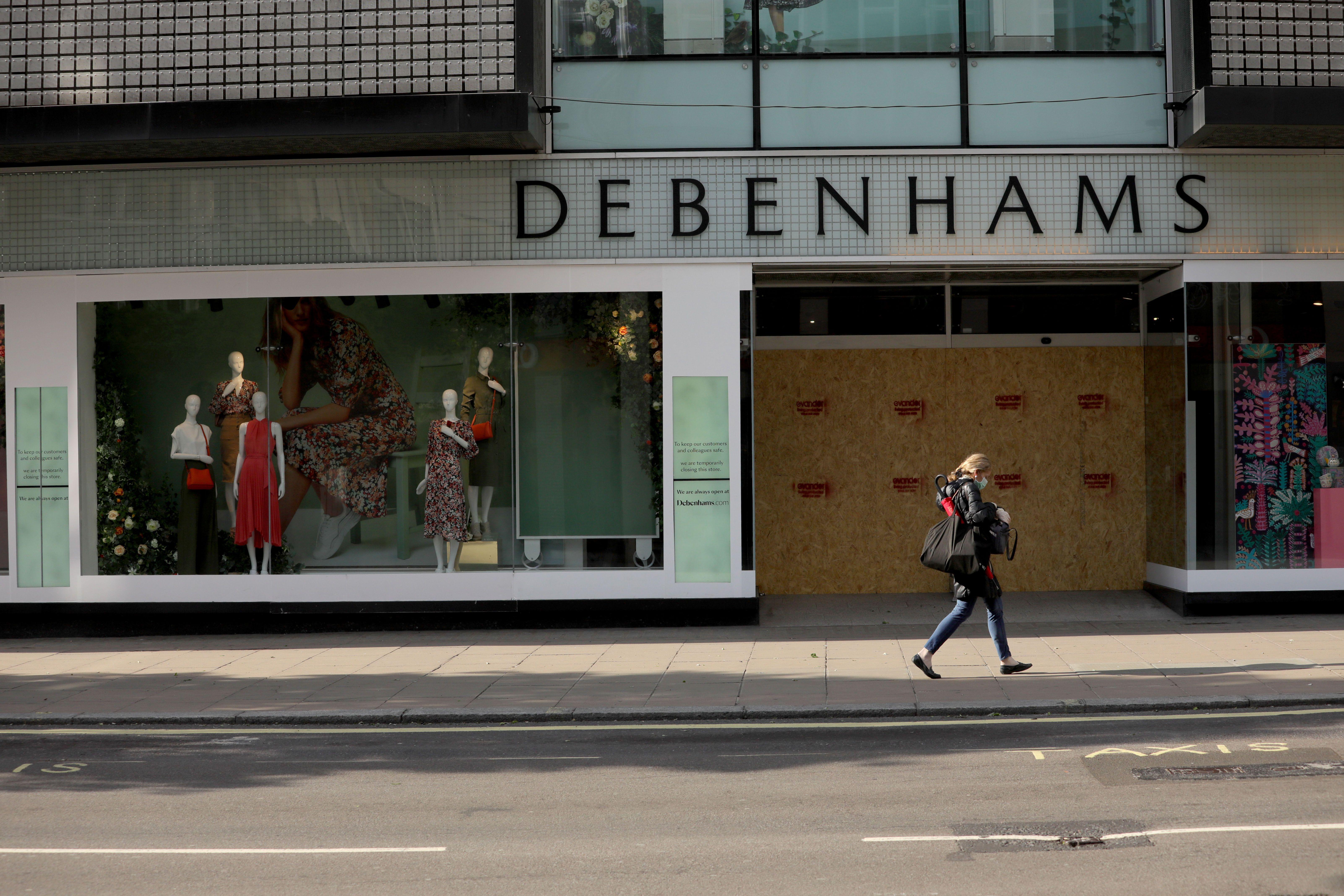 Oxford Street London debenhams store boarded up