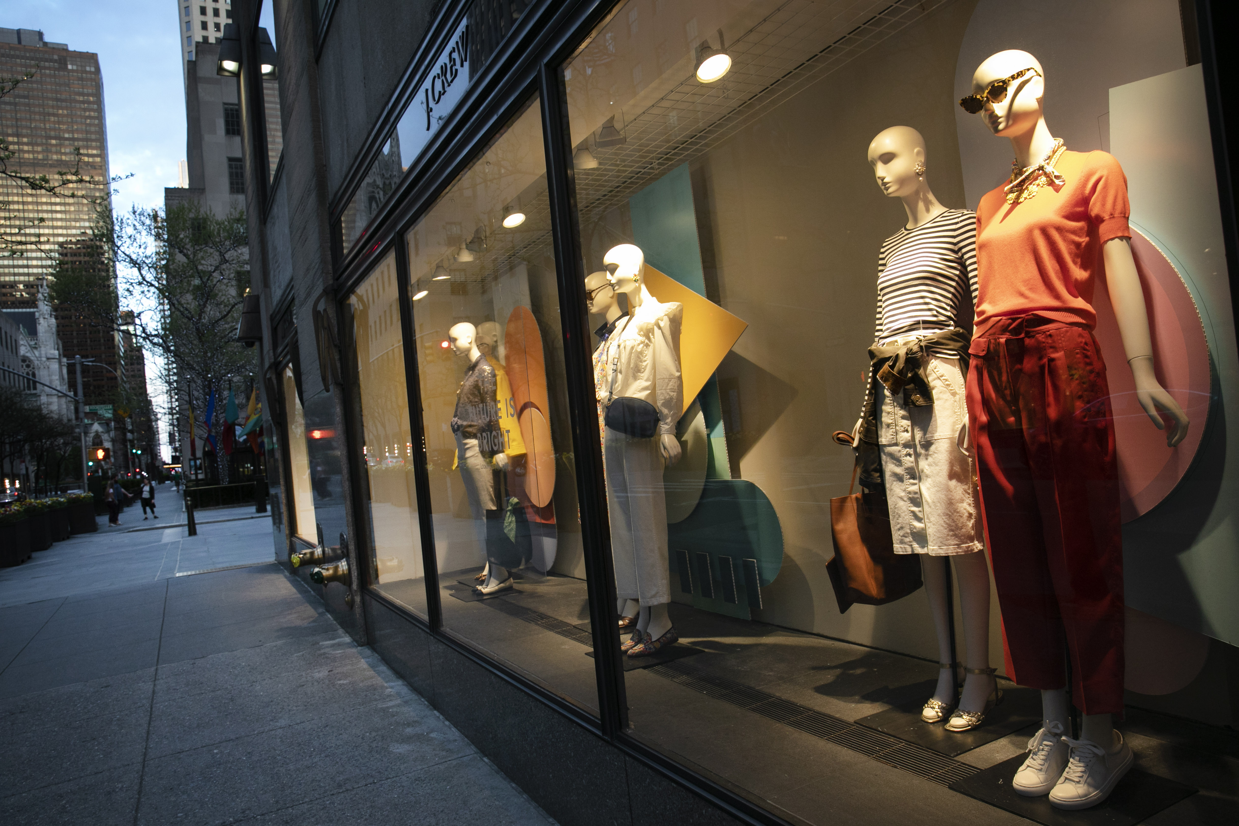 Window display at a J Crew store overlooks a quiet Rockefeller Center, in New York. On April 30, the company announced it would apply for bankruptcy protection amidst the COVID-19 pandemicVirus Outbreak J Crew, New York, United States - 02 May 2020