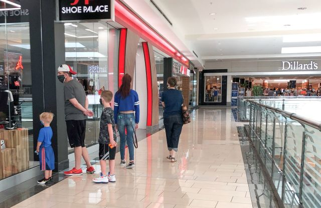 family shoppers masks mall dillard's texas