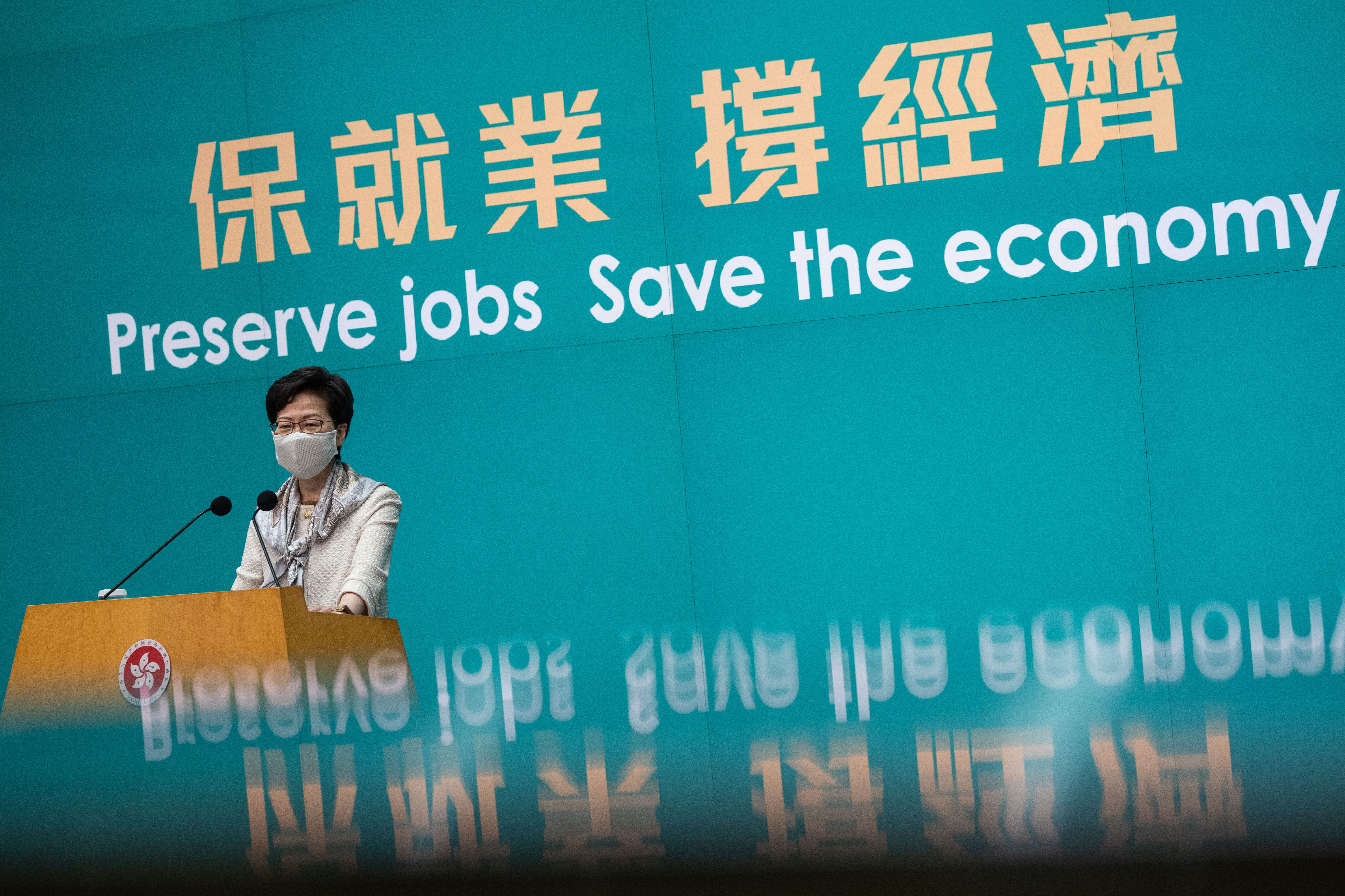 Hong Kong's chief executive Carrie Lam speaks during a press conference on economic relief measures on May 12, 2020.