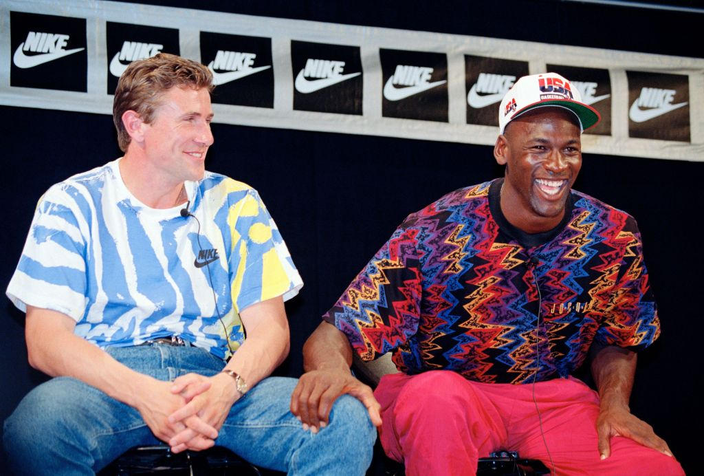 Michael Jordan, right, a member of the US Olympic basketball team and Sergej Bubka, a member of the CIS track and field team are all smiles during a news conference for Nike in Barcelona . Coming into the XXV Olympiad, both athletes get a chance to establish their dominance in their own sports as Jordan hopes to lead the US to an Olympic gold in Men's besketball while Bubka hopes to break another pole vault record1992 Summer Olympics, Barcelona, Spain
