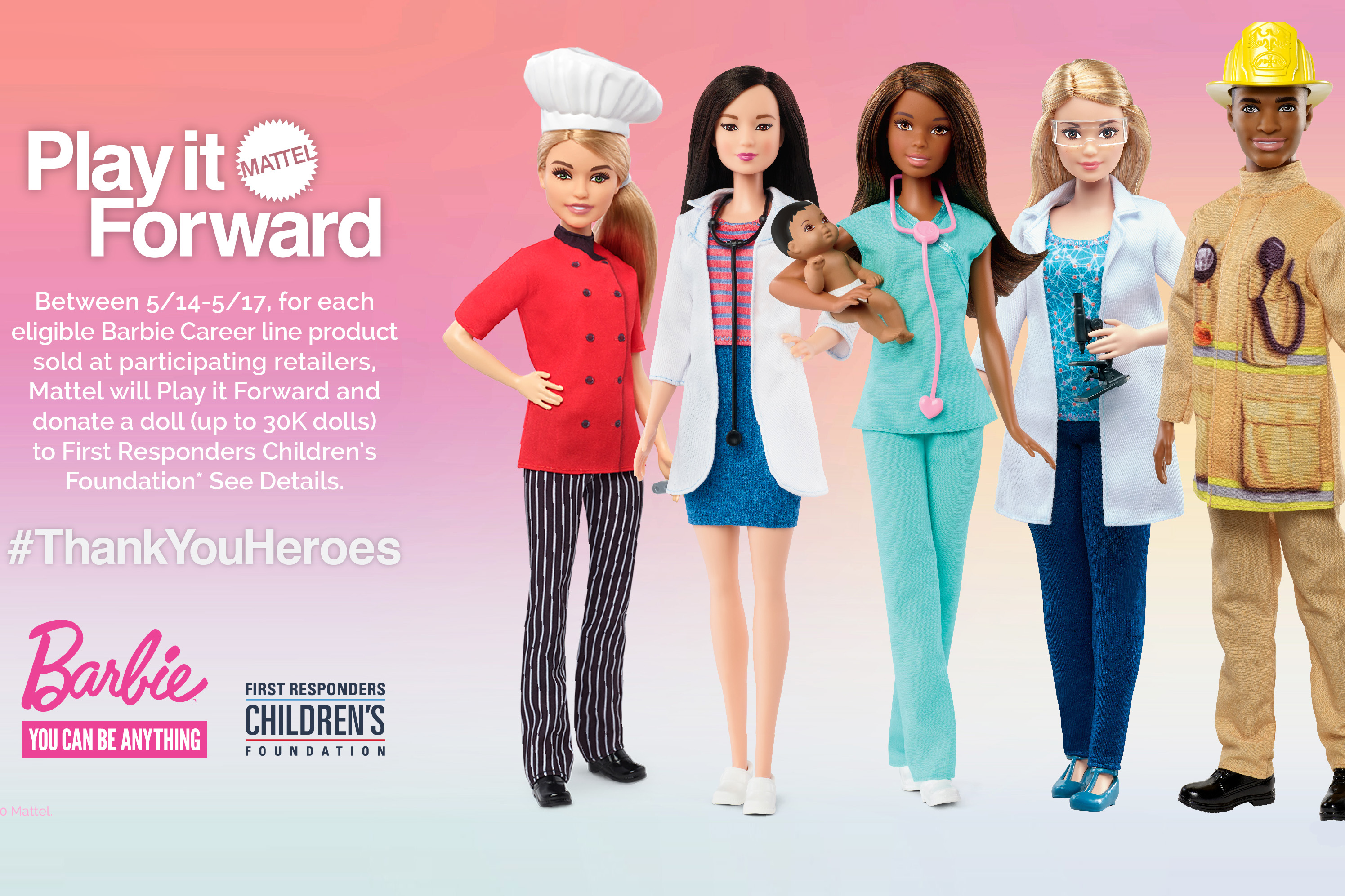 As part of Mattel's Play It Forward platform, Barbie will donate essential worker dolls from the brand's Career range to the children of coronavirus-pandemic first-responders.