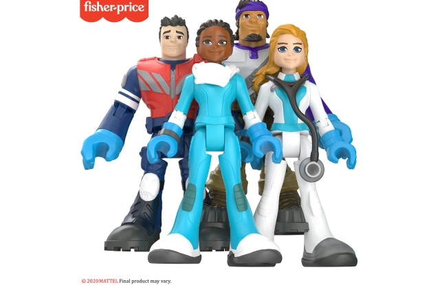 Fisher-Price's #ThankYouHeroes action figures. Clockwise from front, Nurse, EMT, Delivery Driver, Doctor.