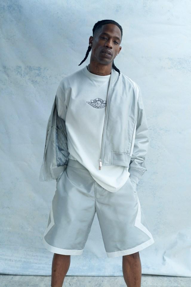 Travis Scott wearing the Air Dior collection.