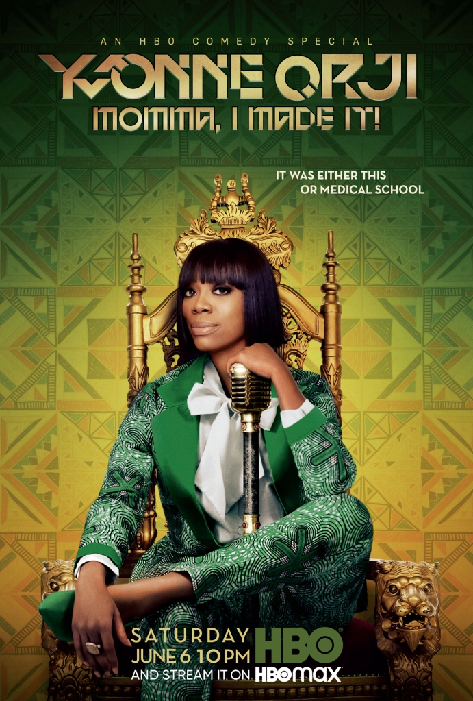 "Yvonne Orji in her HBO special ""Momma, I Made It!"""