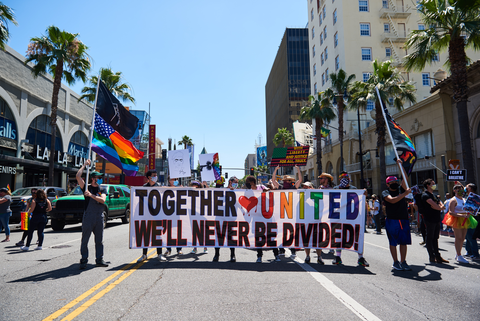 Scenes from the All Black Lives Matter Pride Parade in Los Angeles, California.