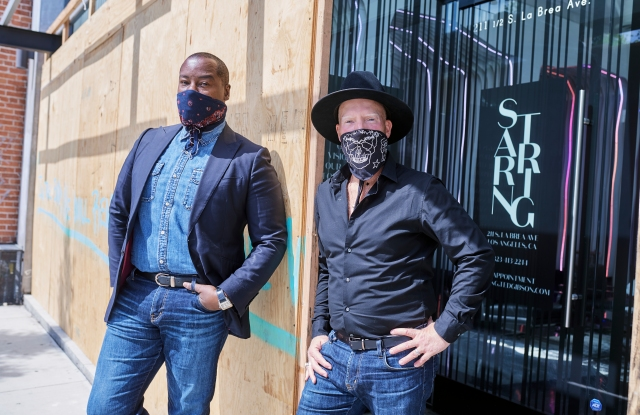 Ted Gibson and Jason Backe pose for a portriat at STARRING by Ted Gibson in Los Angeles, California on June 6, 2020.