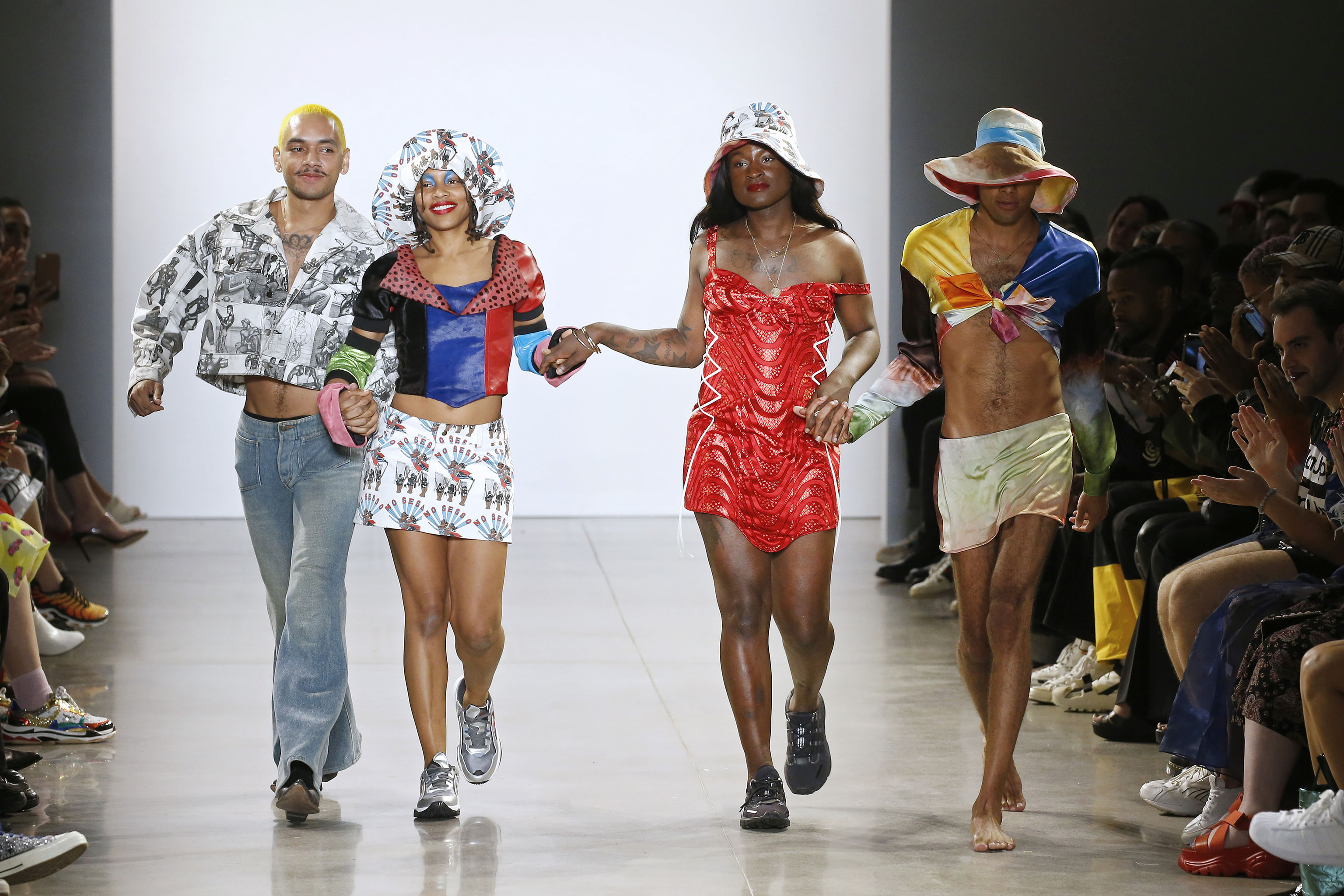 """A joyful moment form No Sesso's Spring 2020 show in New York. """"A good friend of mine, Autumn Randolph, is the other designer of the brand,"""" says No Sesso's Pierre Davis. """"When we're designing, it's just us vibing out and having fun and thinking about things that we want to wear if we're on a red carpet, if we're going to the grocery store, if we are going anywhere, like if we're just in the house."""""""