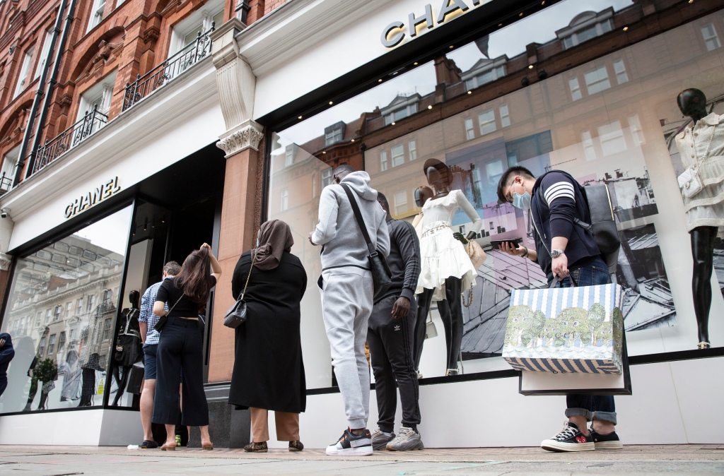 Lining up outside Chanel in Chelsea on June 15, when London retailers reopened.
