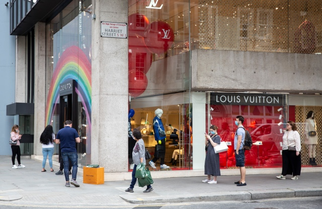 Waiting to get into the Louis Vuitton store in Chelsea.