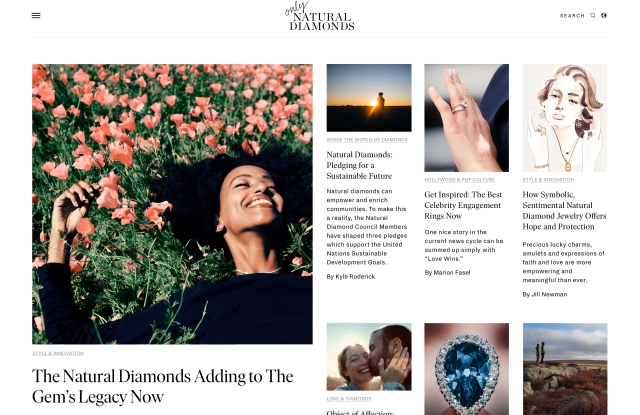 Only natural diamonds homepage