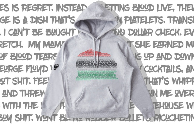 The hoodie, designed with Alexander-John, features lyrics from LL Cool J.