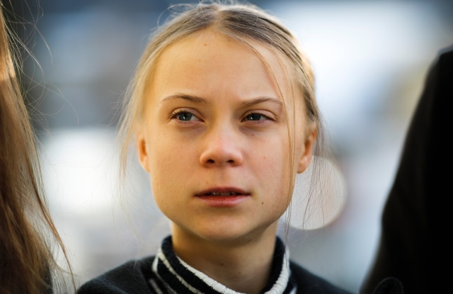Swedish climate activist Greta Thunberg as she arrives for a news conference in Davos, Switzerland.