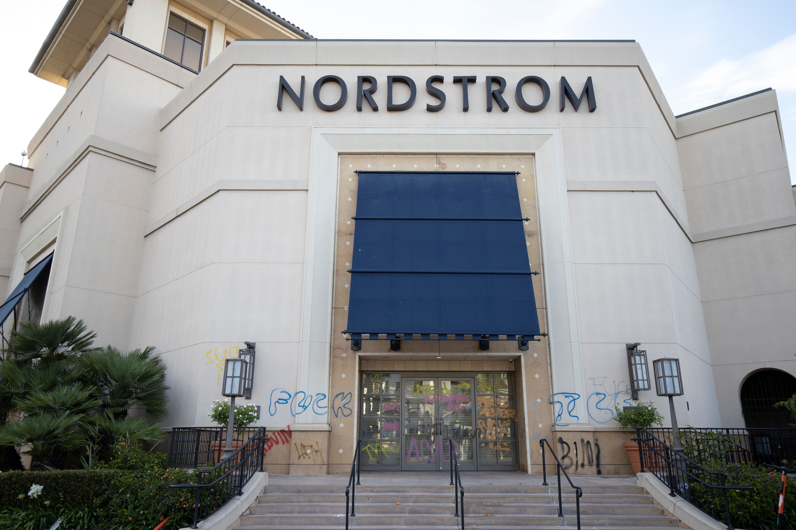 Nordstrom's storefront at The Grove after the May 30 protests.