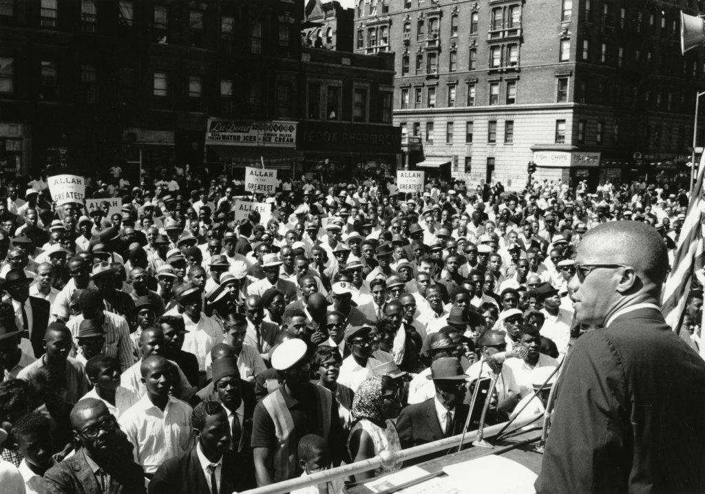 Malcolm X, Black Muslim leader, addresses a rally in Harlem in New York City in 1963.