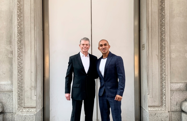 Tom Murry and Raul Peñaranda in front of the former Calvin Klein flagship at 654 Madison Avenue,