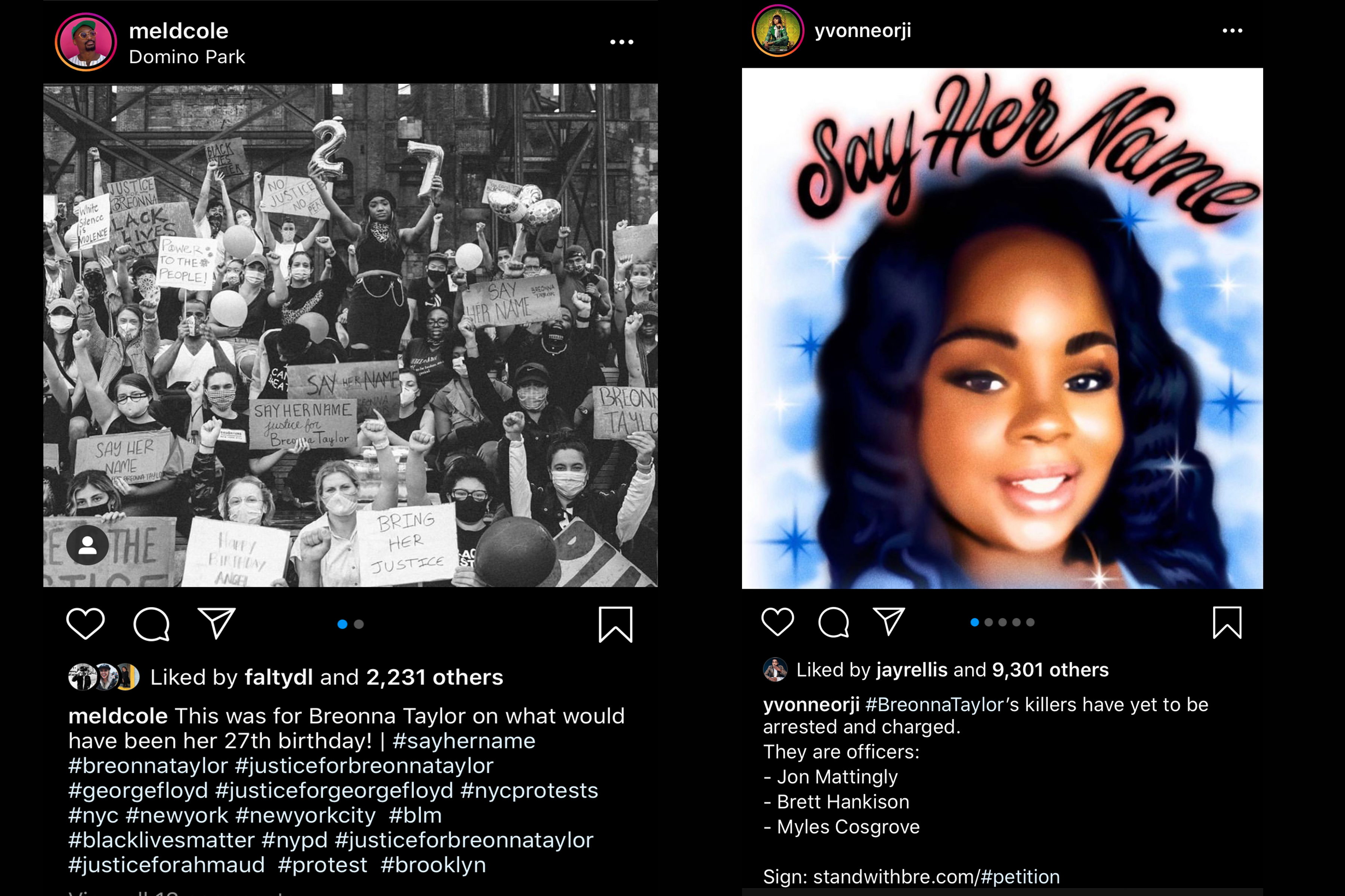 Instagram posts from Mel D. Cole and Yvonne Orji.
