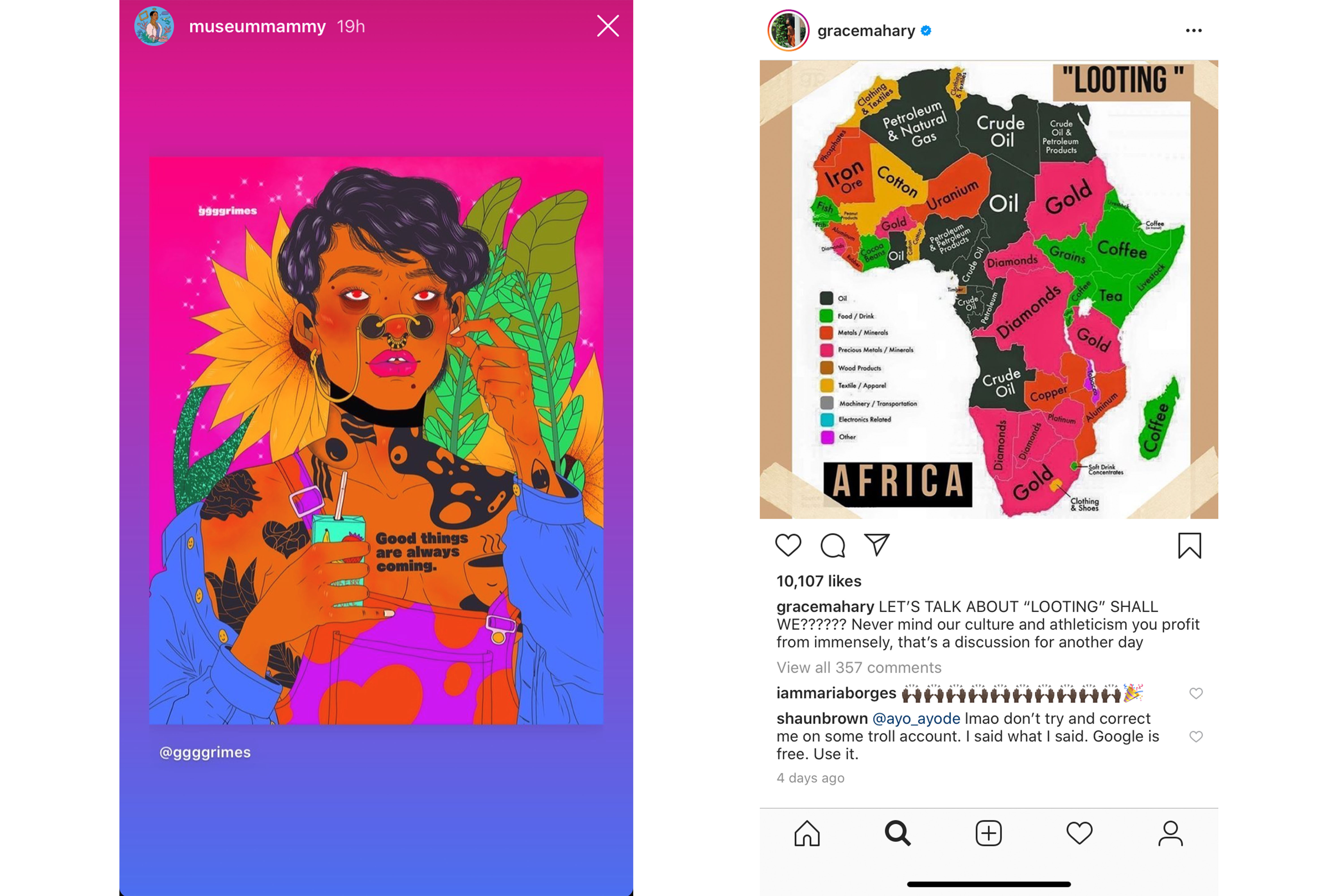 Instagram posts from Kimberly Drew (illustration by ggggrimes) and Grace Mahary.