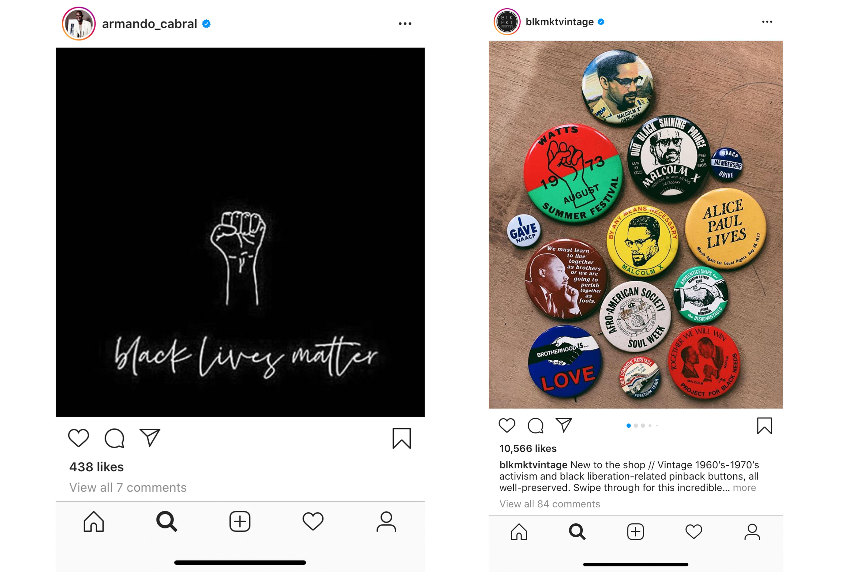 Instagram posts from Armando Cabral and BLK MKT Vintage.