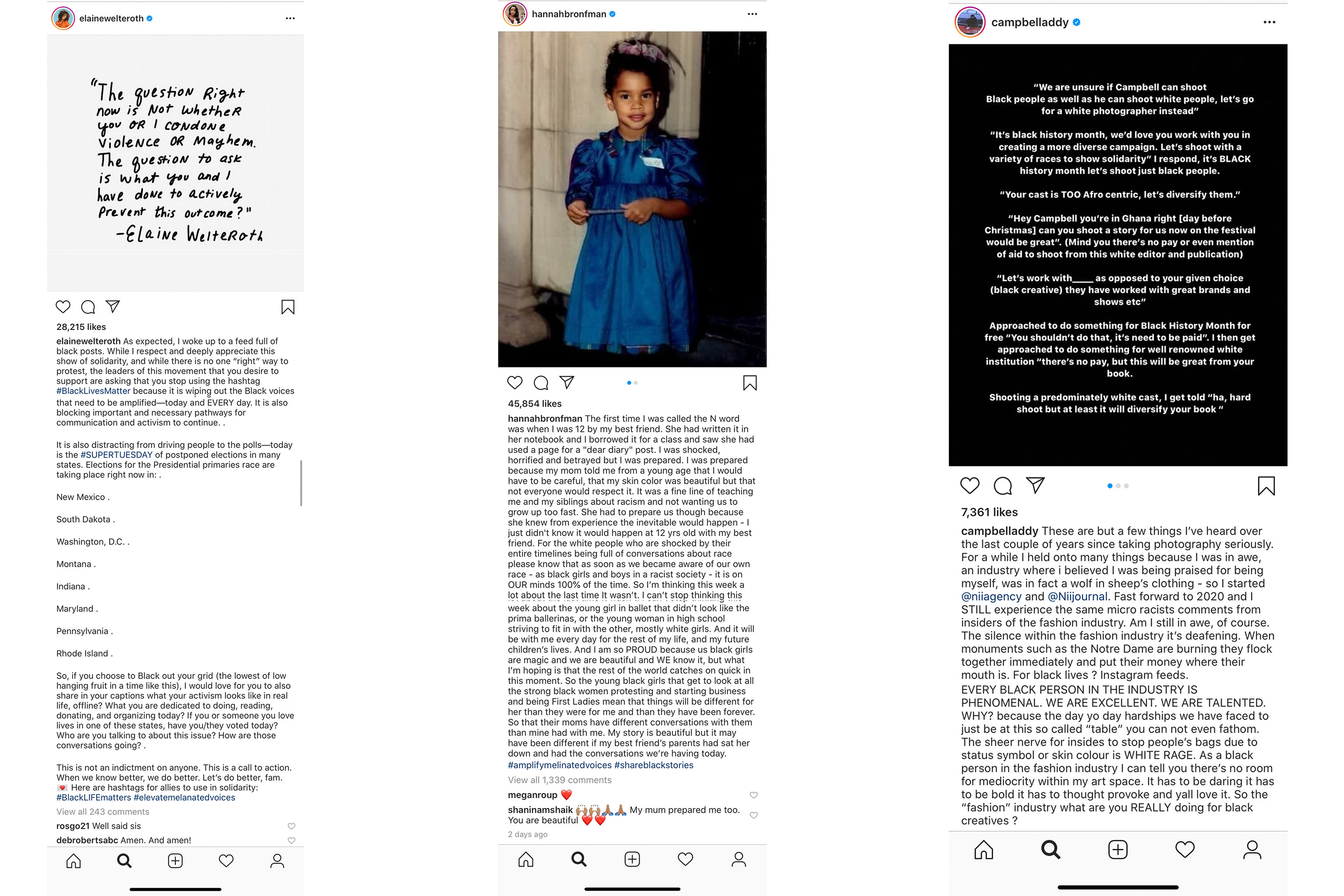 Instagram posts from Elaine Welteroth, Hannah Bronfman, and Campbell Addy.