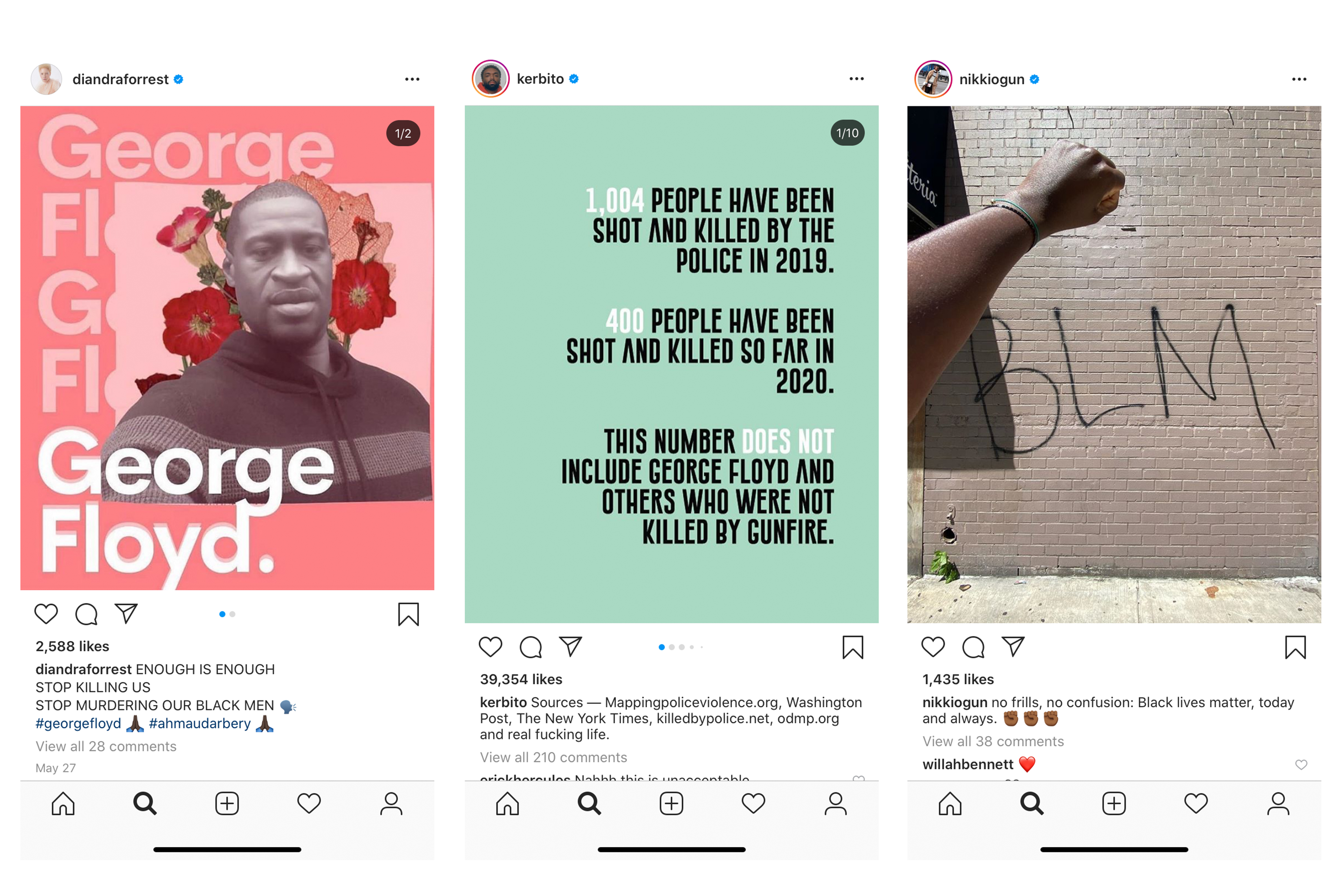 Instagram posts from Diandra Forrest, Kerby Jean-Raymond and Nikki Ogunnaike.