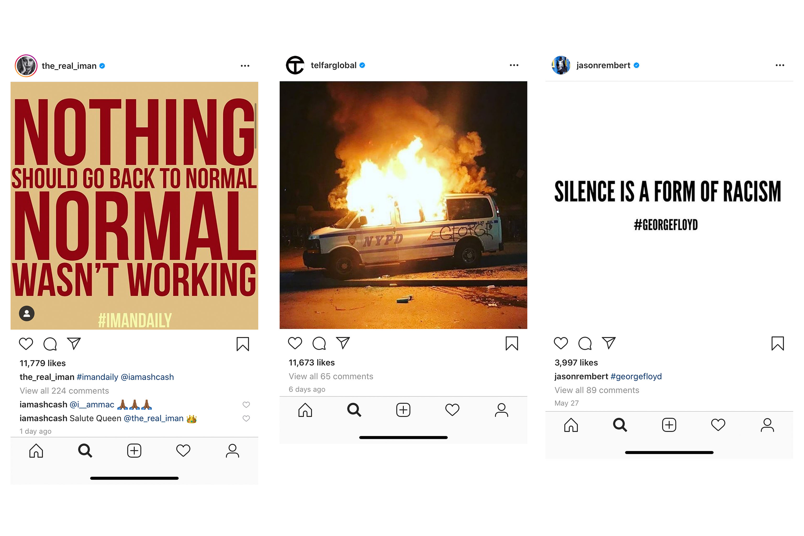Instagram posts from Iman, Telfar Clemens, and Jason Rembert.