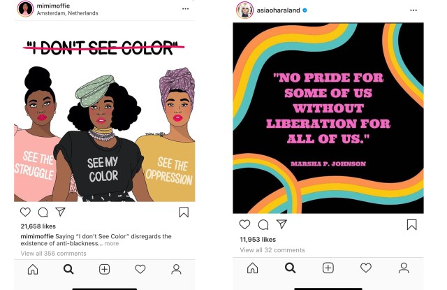 Instagram posts from Mimi Moffie and Asia O'Hara.