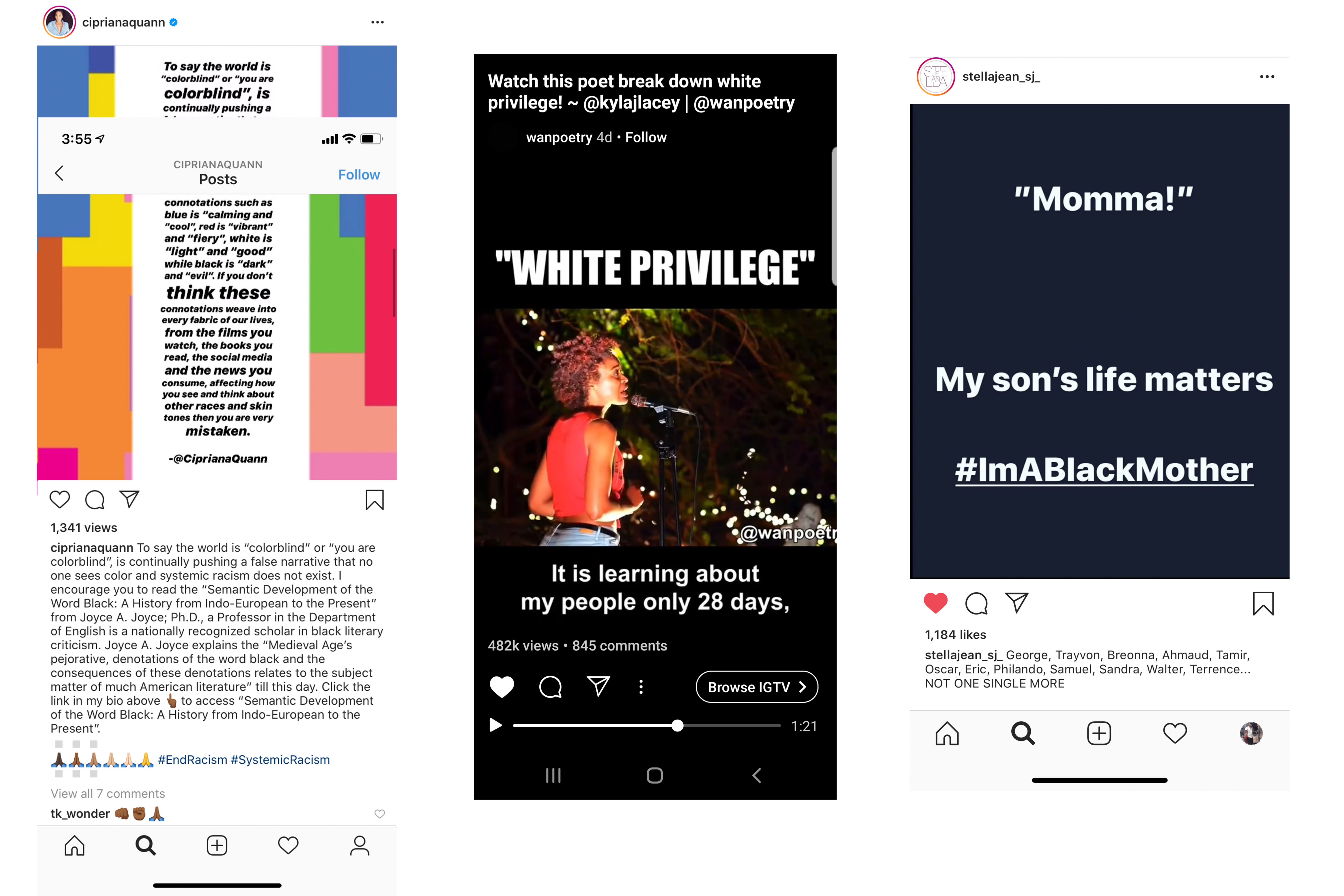Instagram posts from Cipriana Quann, Write About Now Poetry, and Stella Jean.