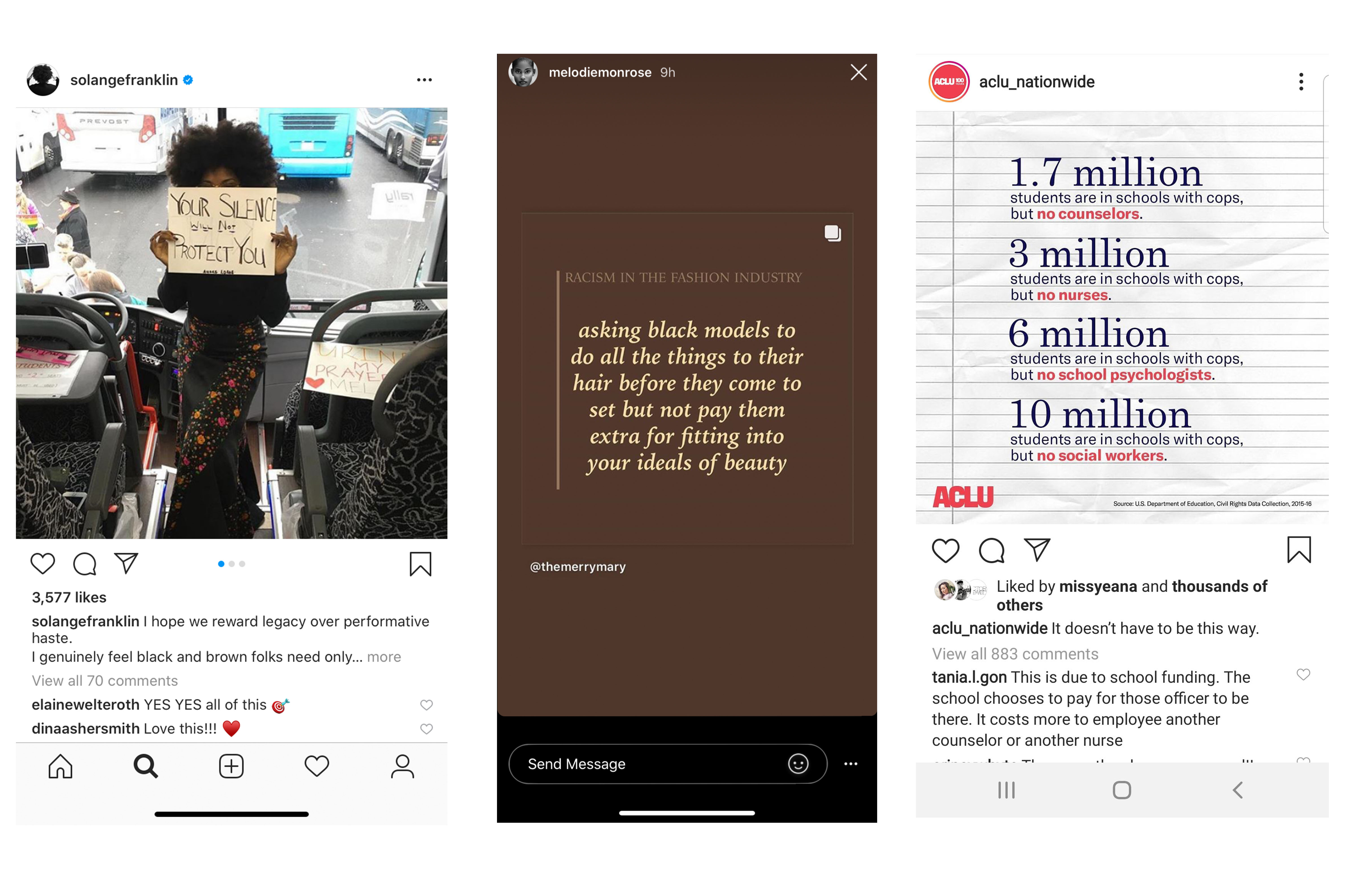 Instagram posts from Solange Franklin, Mélodie Monrose, and ACLU.