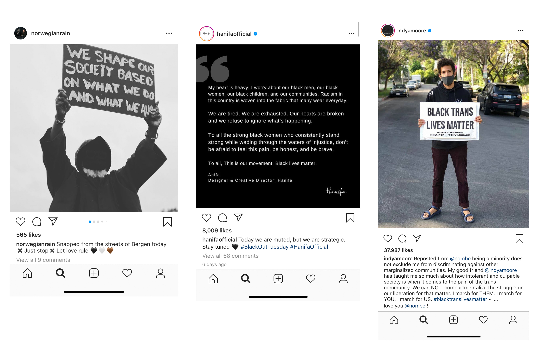 Instagram posts from Norwegian Rain, Hanifa Official, and Indya Moore.