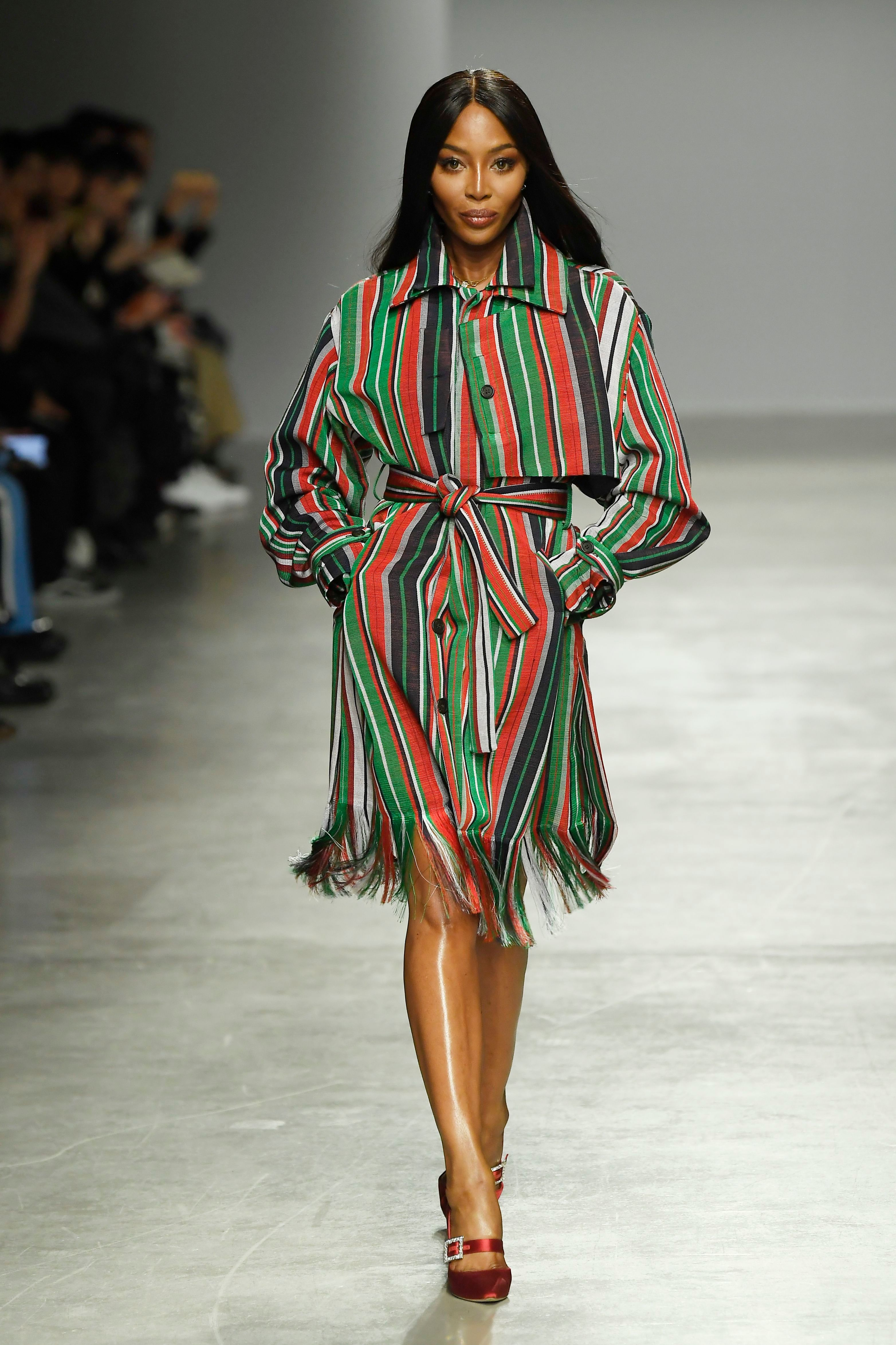 Naomi Campbell walking in the Kenneth Ize RTW Fall 2020 show.