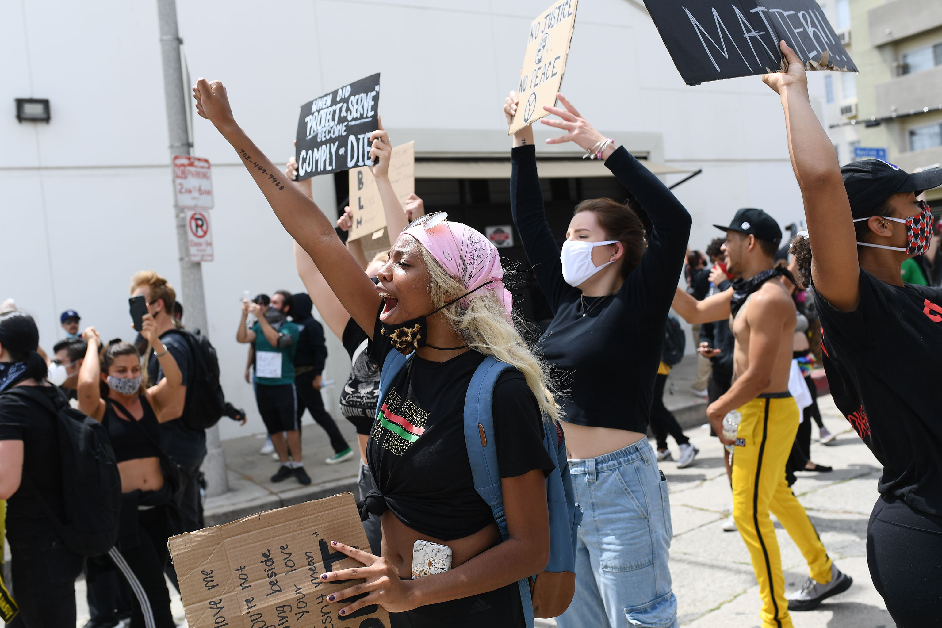 The Black Lives Matter protest in Los Angeles.