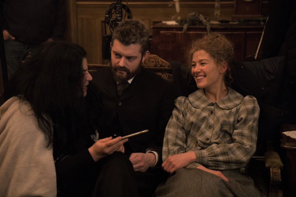 Marjane Satrapi onset with Sam Riley and Rosamund Pike.