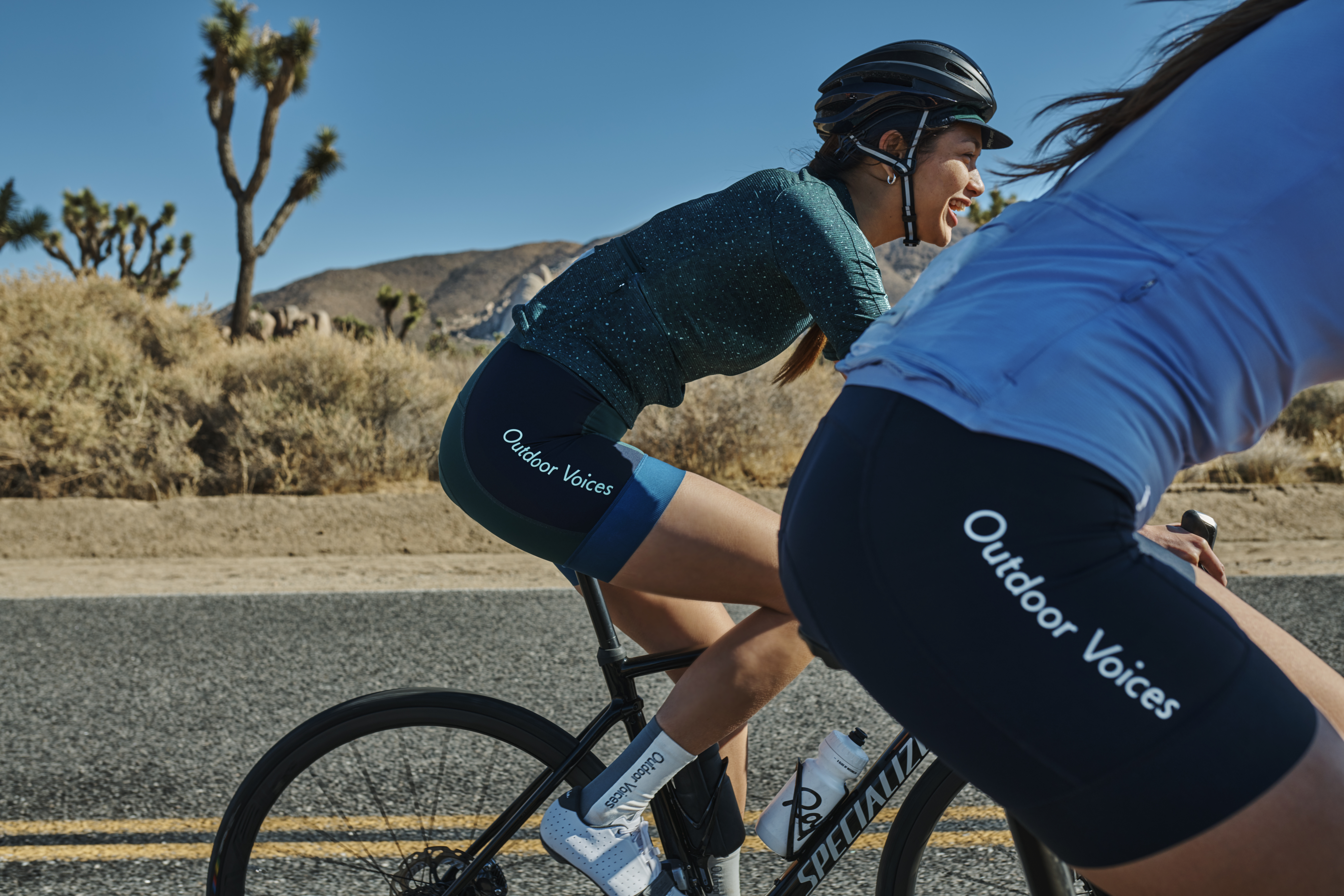 Looks from the Rapha + Outdoor Voices collaboration.