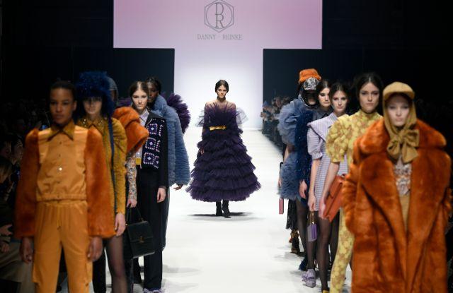 Models walk the runway at the Danny Reinke show during Berlin Fashion Week fall 2020.
