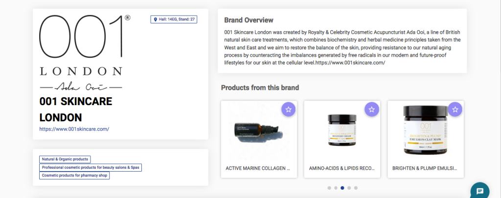 001 Skincare London's page on the WeCosmoprof platform.