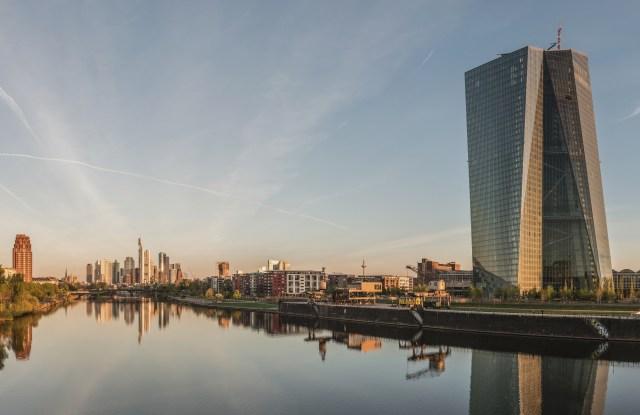 The Frankfurt skyline at dawn.