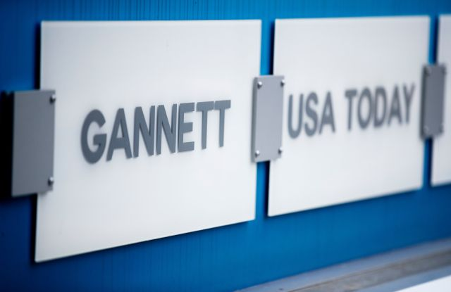 Signage outside the Gannett Co. headquarters in McLean, Virginia, USA, 05 August 2019. GateHouse Media is buying Gannett Co. for nearly 1.4 billion US dollars. The combined company will retain the Gannett name and will control 230 daily newspapers and 130 weeklies.GateHouse Media buying Gannett Co. for nearly 1.4 billion US dollars, Mclean, USA - 05 Aug 2019