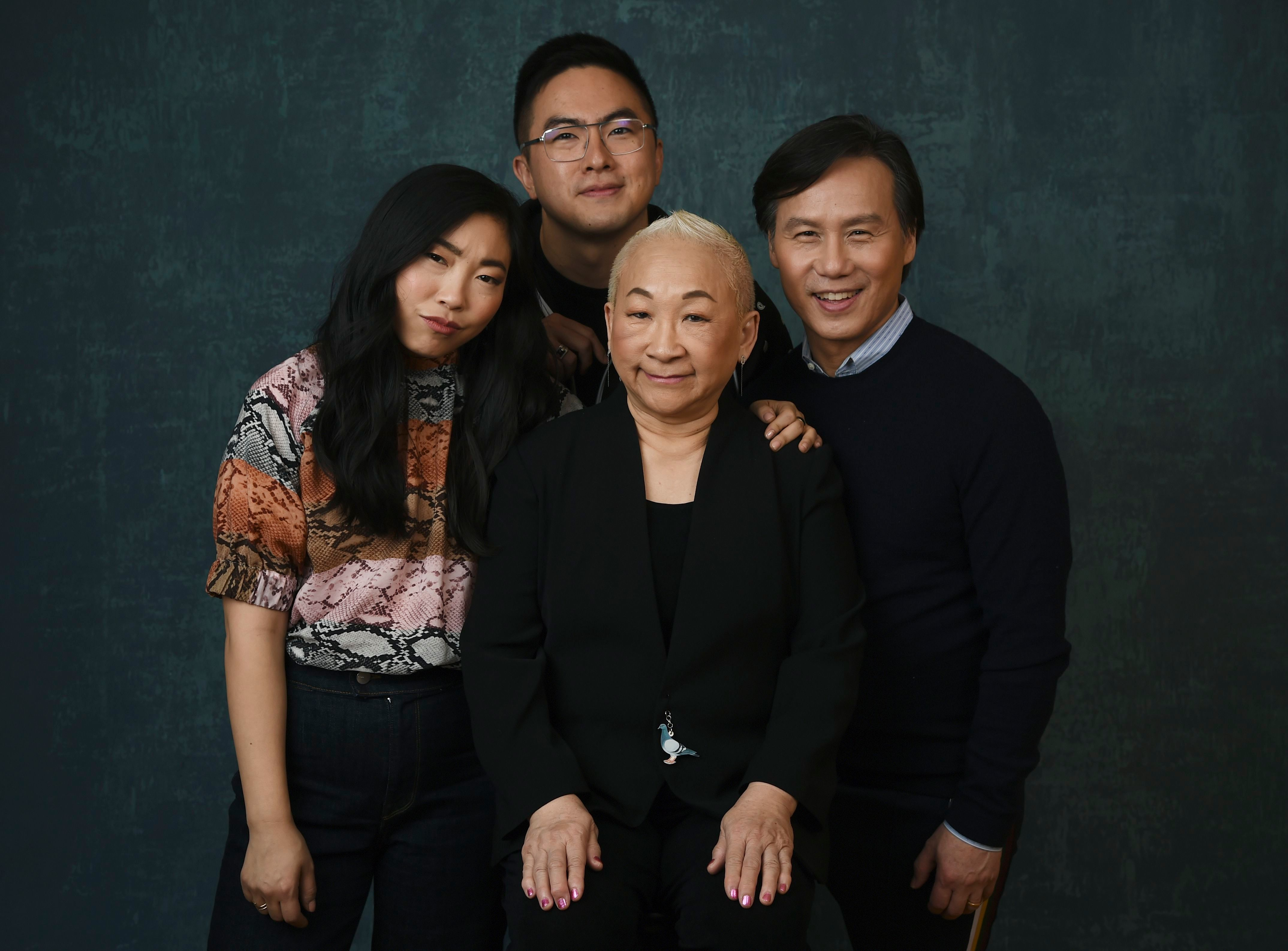 """Awkwafina, Bowen Yang, Lori Tan Chinn, BD Wong. Awkwafina, left, poses with fellow cast members, from second left, Bowen Yang, Lori Tan Chinn and BD Wong to promote their show """" Awkwafina is Nora from Queens"""" during the 2020 Winter Television Critics Association Press Tour, in Pasadena, Calif2020 Winter TCA - """"Awkwafina is Nora from Queens"""" Portrait Session, Pasadena, USA - 14 Jan 2020"""