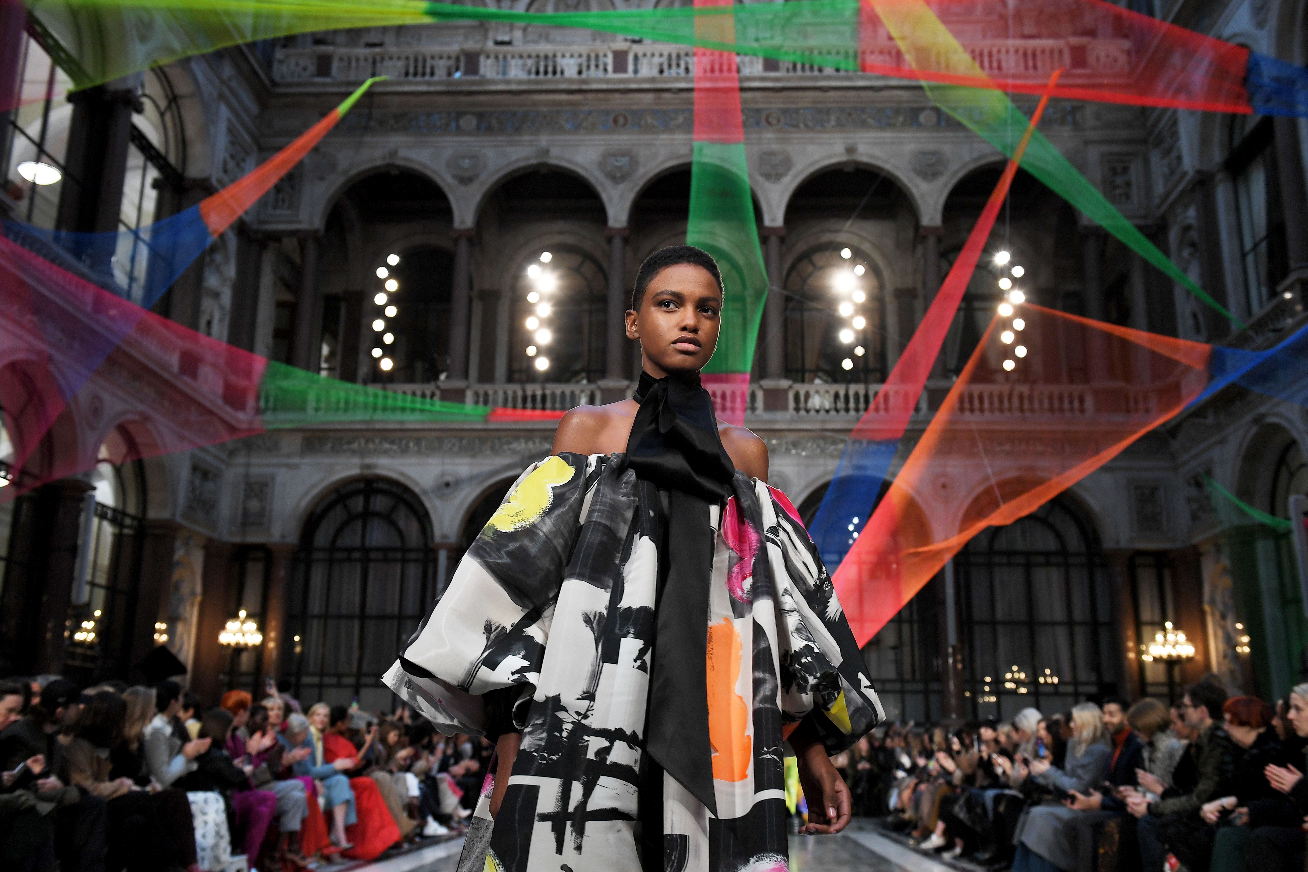 Model on the catwalk at the Foreign and Commonwealth Office Roksanda show.